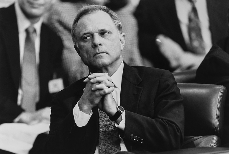 Sen. David Pryor, D-Ark., at the first day of Keating 5 hearings, on Nov. 15, 1990. (Photo by Maureen Keating/CQ Roll Call via Getty Images)