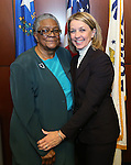 Former Sen. Bernice Mathews, left, poses with Sen. Barbara Cegavske, R-Las Vegas, before a ceremony inducting her into the Nevada Senate Hall of Fame at the Legislative Building in Carson City, Nev., on Wednesday, April 17, 2013. .Photo by Cathleen Allison