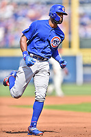 Chicago Cubs right fielder Jason Heyward (22) rounds the bases after hitting a home run during a game against the Atlanta Braves at Turner Field on June 11, 2016 in Atlanta, Georgia. The Cubs defeated the Braves 8-2. (Tony Farlow/Four Seam Images)