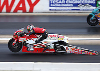 Aug 19, 2016; Brainerd, MN, USA; NHRA pro stock motorcycle rider Hector Arana Jr during qualifying for the Lucas Oil Nationals at Brainerd International Raceway. Mandatory Credit: Mark J. Rebilas-USA TODAY Sports