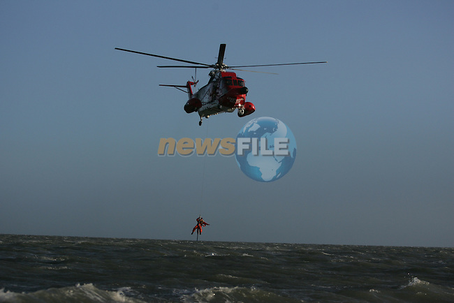 Drogheda Coast Guard unit training with Rescue 116 from Dublin Airport off the bar in mornington...Photo: Newsfile/Fran Caffrey.