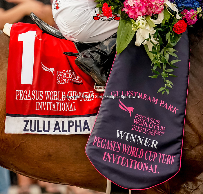January 25, 2020: Zulu Alpha #1, ridden by Tyler Gaffalione, wins the Pegasus World Cup Invitational Turf during the Pegasus World Cup Invitational at Gulfstream Park Race Track in Hallandale Beach, Florida. Scott Serio/Eclipse Sportswire/CSM