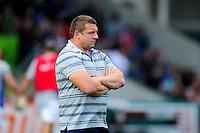 Bath Rugby first team coach Toby Booth looks on during the pre-match warm-up. Aviva Premiership match, between Leicester Tigers and Bath Rugby on September 25, 2016 at Welford Road in Leicester, England. Photo by: Patrick Khachfe / Onside Images