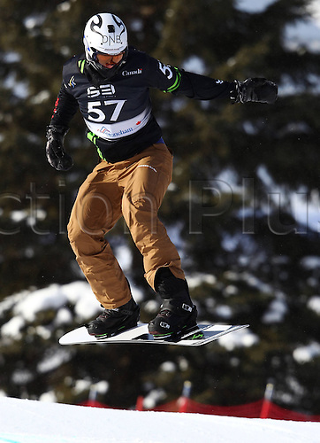 24.01.2013. Snowboarding FIS World Cup  SBX qualification day Stoneham,  Canada Snowboard Cross Qualification for men. Picture shows Stian  NOR
