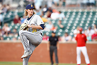 Montgomery Biscuits starting pitcher Sam McWilliams (36) delivers a pitch in the game against the Chattanooga Lookouts on May 25, 2018 at AT&T Field in Chattanooga, Tennessee. (Andy Mitchell/Four Seam Images)