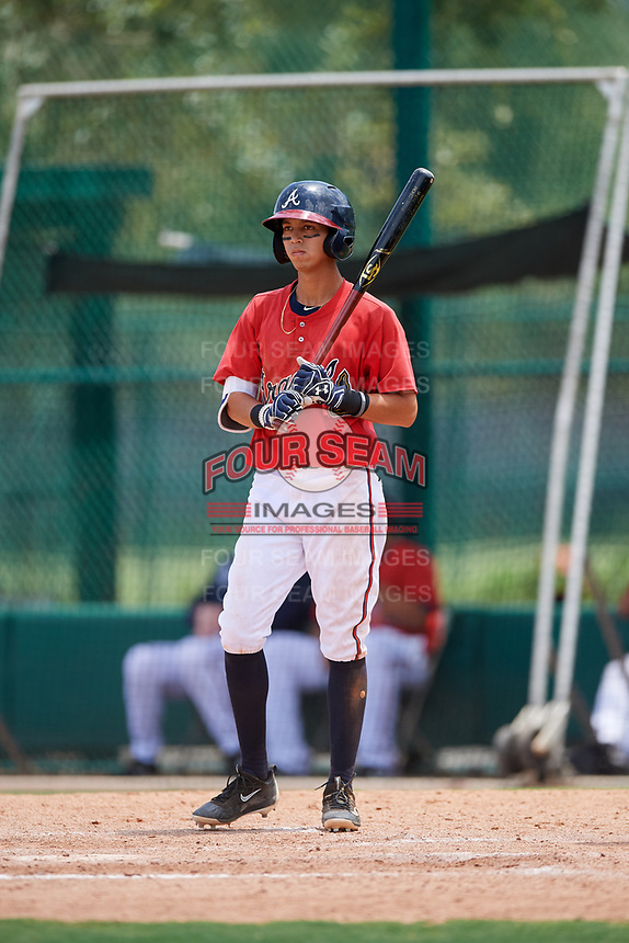 GCL Braves shortstop Livan Soto (13) at bat during a game against the GCL Pirates on July 27, 2017 at ESPN Wide World of Sports Complex in Kissimmee, Florida.  GCL Braves defeated the GCL Pirates 8-6.  (Mike Janes/Four Seam Images)