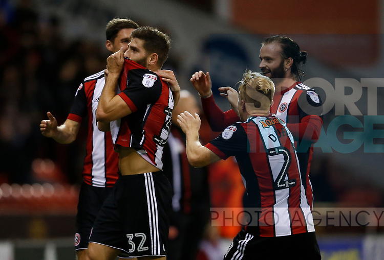 Ched Evans of Sheffield Utd scores the equaliser during the Carabao Cup First Round match at Bramall Lane Stadium, Sheffield. Picture date: August 9th 2017. Pic credit should read: Simon Bellis/Sportimage
