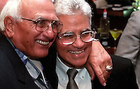 Former Green Bay Packers guard Fuzzy Thurston and Vince Lombardi, Jr. at the Lombardi Legends Reunion dinner at Lombardi's Steakhouse in Appleton, Wisconsin in September of 2001.