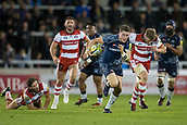 29th September 2017, AJ Bell Stadium, Salford, England; Aviva Premiership Rugby, Sale Sharks versus Gloucester; Sale Sharks' Sam James makes an interception and runs towards scoring a try