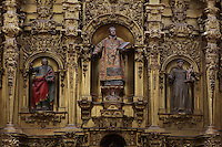 Main Altar (detail), 18th century, Iglesia de San Esteban (St Stephen's Church), 12th-13th centuries, Segovia, Castile and Leon, Spain. Late Romanesque sandstone church. Baroque interior rebuilt after fire, 18th century. Picture by Manuel Cohen