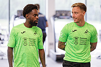 Pictured: Nathan Dyer and Barrie McKay of Swansea City during the Swansea City FC training session at the Fairwood training ground in Swansea, Wales, UK Saturday 29 June 2019Saturday 29 June 2019<br /> Re: Swansea City FC training, Fairwood, near Swansea, Wales, UK