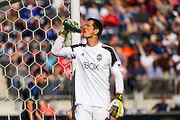 Seattle Sounders goalkeeper Michael Gspurning (1) takes a drink. The Philadelphia Union and the Seattle Sounders played to a 2-2 tie during a Major League Soccer (MLS) match at PPL Park in Chester, PA, on May 4, 2013.
