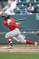 Santiago Espinal (5) of the Salem Red Sox follows through on his swing against the Winston-Salem Dash at BB&T Ballpark on April 22, 2018 in Winston-Salem, North Carolina.  The Red Sox defeated the Dash 6-4 in 10 innings.  (Brian Westerholt/Four Seam Images)