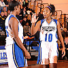 Mikaiya Moore #10 of Copiague, right, and Nadiyah Khalil #15 celebrate as their team closes in on a 59-52 win over Northport in Suffolk County League II varsity girls' basketball game at Copiague High School on Thursday, Jan. 28, 2016. Moore recorded a game-high 30 points along with 10 assists and five blocks.