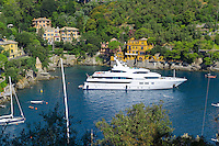 Portofino . fashionable seaside fishing village for the wealthy .  Ligurian Coast. Italy