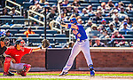 21 April 2013: New York Mets third baseman David Wright gets brushed back by a Jordan Zimmermann pitch in the 5th inning against the Washington Nationals at Citi Field in Flushing, NY. The Mets shut out the visiting Nationals 2-0, taking the rubber match of their 3-game weekend series. Mandatory Credit: Ed Wolfstein Photo *** RAW (NEF) Image File Available ***