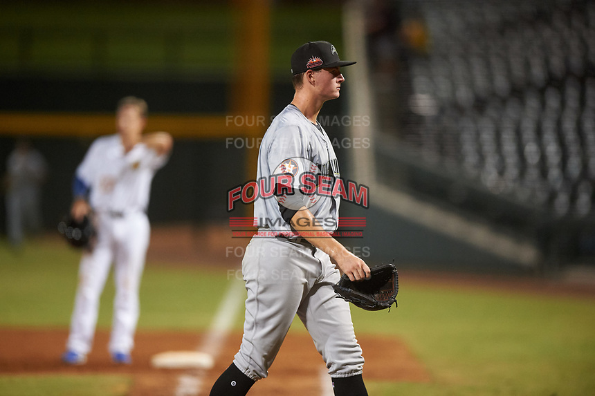 Peoria Javelinas starting pitcher Forrest Whitley (39), of the Houston Astros organization, walks toward the dugout after a pitching change during an Arizona Fall League game against the Mesa Solar Sox on September 21, 2019 at Sloan Park in Mesa, Arizona. Mesa defeated Peoria 4-1. (Zachary Lucy/Four Seam Images)