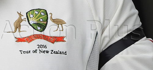 22.02.2016. Christchurch, New Zealand.  Australian Cricket coat of arms and a black armband in remembrance of the Christchurch earthquake of February 22, 2011. Day 3 of the 2nd test match. New Zealand Black Caps v Australia. Hagley Oval in Christchurch, New Zealand. Monday 22 February 2016.