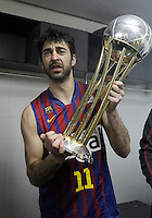 FC Barcelona Regal's Juan Carlos Navarro celebrates the victory in the Spanish Basketball King's Cup Final match.February 07,2013. (ALTERPHOTOS/Acero)