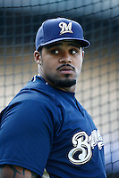 Prince Fielder of the Milwaukee Brewers during batting practice before a game from the 2007 season at Dodger Stadium in Los Angeles, California. (Larry Goren/Four Seam Images)