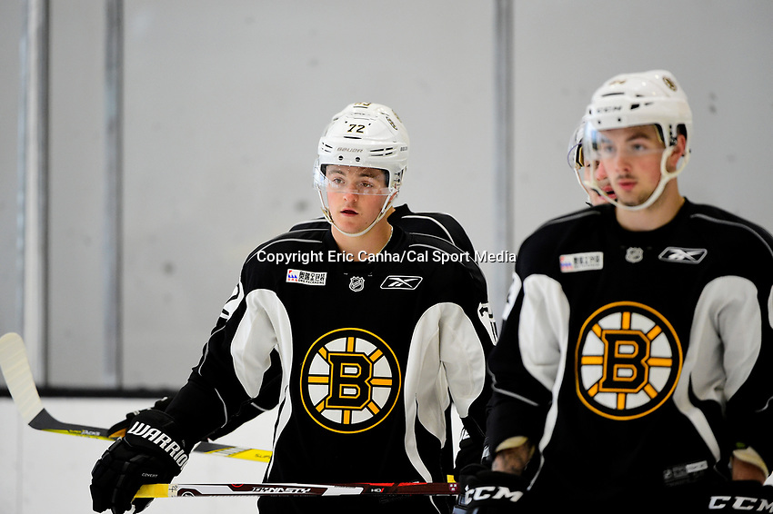 July 7, 2017: Boston Bruins forward Ryan Donato (72) waits for the start of a drill during the Boston Bruins development camp held at Warrior Ice Arena in Brighton, Massachusetts. Eric Canha/CSM