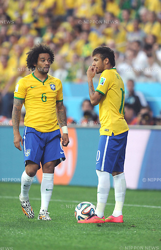 (L-R) Marcelo, Neymar (BRA), JUNE 12, 2014 - Football / Soccer : FIFA World Cup Brazil 2014 Group A match between Brazil 3-1 Croatia at Arena de Sao Paulo in Sao Paulo, Brazil. (Photo by SONG Seak-In/AFLO)