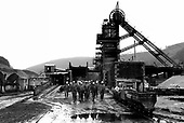 End of the morning shift at Marine colliery in Cwm, Ebbw Vale, South Wales. The South Wales valleys used to employ 250,000 miners in 400 pits.