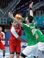Algeria's Hichem Kaabache (r) and Egypt's Mohamed Hisham during 23rd Men's Handball World Championship preliminary round match.January 15,2013. (ALTERPHOTOS/Acero) /NortePhoto