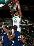 North Texas Mean Green forward Alonzo Edwards (34) in action during the game between the Jackson State Tigers and the University of North Texas Mean Green at the North Texas Coliseum,the Super Pit, in Denton, Texas. UNT defeated Jackson State 69 to 55.