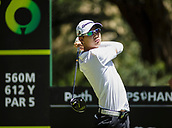 9th February 2018, Lake Karrinyup Country Club, Karrinyup, Australia; ISPS HANDA World Super 6 Perth golf, second round; Jazz Janewattananond (THA) tees off