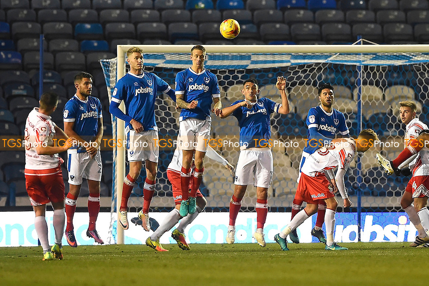 Steven Schumacher of Stevenage fires in a free kick in the second half during Portsmouth vs Stevenage, Sky Bet EFL League 2 Football at Fratton Park on 26th November 2016