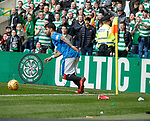 29.04.18 Celtic v Rangers: Daniel Candeias takes a quick corner kick with debris around him