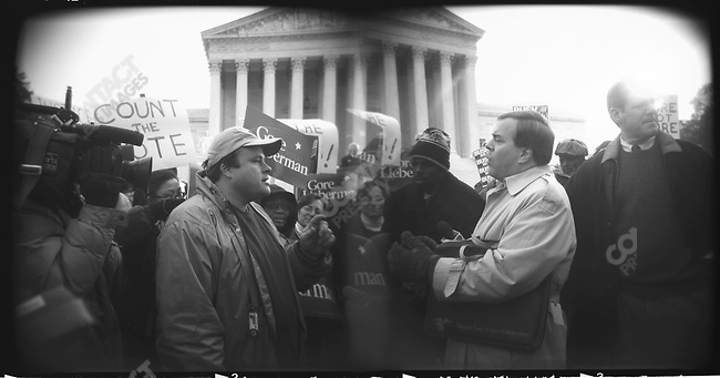Disputed 2000 US Presidential election protests ouside the Supreme Court, Washington, D.C., December 12, 2000