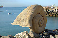 Shell sculpture of shell at Puerto del Rosario, Fuerteventura, Canary Islands.