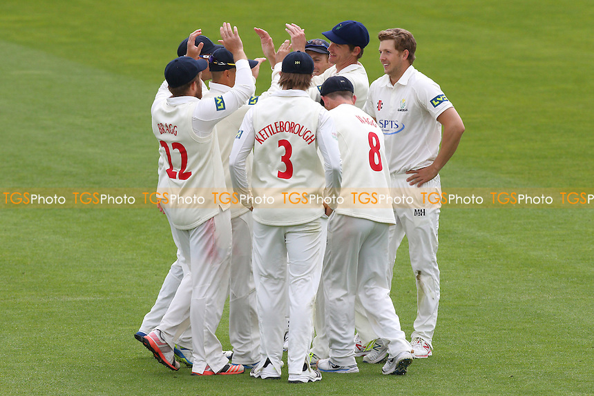 Craig Meschede (R) of Glamorgan is congratulated by his team mates after taking the wicket of Adeel Malik - Glamorgan CCC vs Essex CCC - LV County Championship Division Two Cricket at the SWALEC Stadium, Sophia Gardens, Cardiff, Wales - 20/05/15 - MANDATORY CREDIT: TGSPHOTO - Self billing applies where appropriate - contact@tgsphoto.co.uk - NO UNPAID USE