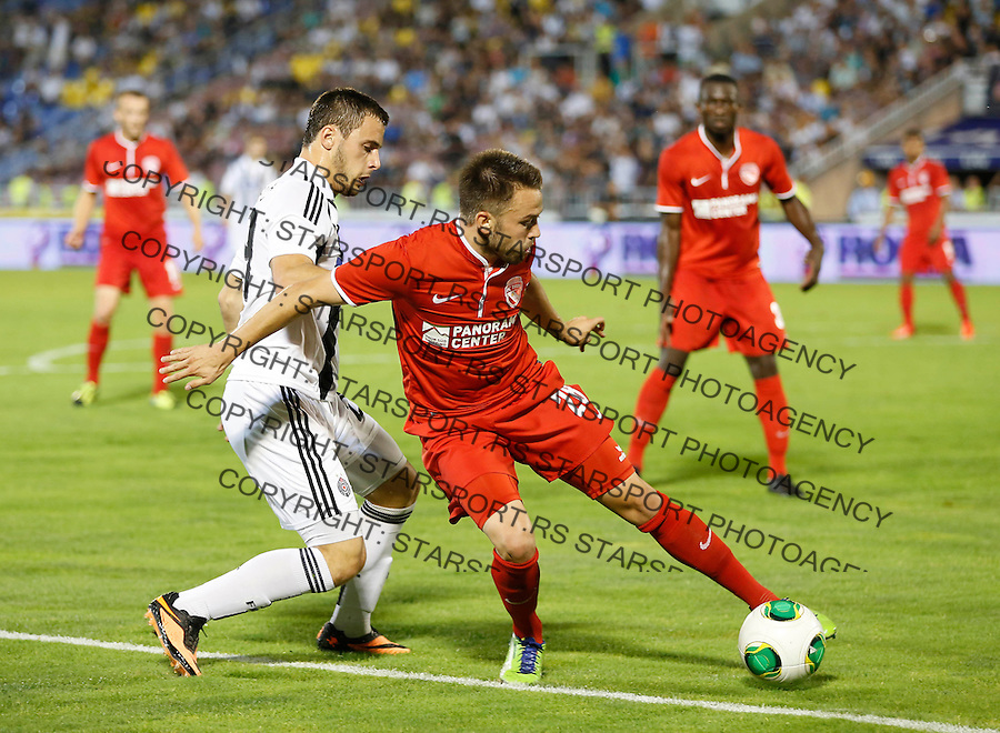 Fudbal UEFA Europa League season 2013-2014<br /> Play-offs First leg<br /> Partizan v Thun<br /> Andreas Wittwer and Filip Malbasic<br /> Beograd, 22.08.2013.<br /> foto: Srdjan Stevanovic/Starsportphoto &copy;