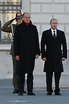 Enrico Letta, Italian Prime Minister (L) and Russian President Vladimir Putin during the Italo-Russian intergovernmental meeting in Trieste.  <br /> <br /> &copy; Pierre Teyssot