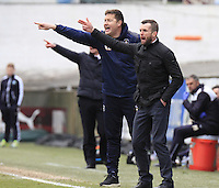 Luton manager Nathan Jones gives out his orders during the Sky Bet League 2 match between Plymouth Argyle and Luton Town at Home Park, Plymouth, England on 19 March 2016. Photo by Liam Smith.