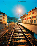 SWITZERLAND, Couvet, the train station at dusk, Jura Region