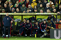 1st December 2019; Carrow Road, Norwich, Norfolk, England, English Premier League Football, Norwich versus Arsenal; Joe Willock of Arsenal receives treatment after being substituted - Strictly Editorial Use Only. No use with unauthorized audio, video, data, fixture lists, club/league logos or 'live' services. Online in-match use limited to 120 images, no video emulation. No use in betting, games or single club/league/player publications