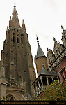 Onze-Lieve-Vrouwkerk Church of Our Lady, 122 meter Brick Tower, Gruuthuse Palace Towers, Bruges, Brugge, Belgium