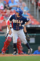 Durham Bulls second baseman Mike Fontenot #3 reacts to fouling a ball off his hand during a game against the Buffalo Bisons on June 24, 2013 at Coca-Cola Field in Buffalo, New York.  Durham defeated Buffalo 7-1.  (Mike Janes/Four Seam Images)