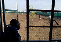KENYA, Turkana, refugee camp Kakuma IV, JRS Jesuit refugee Service, shelter for children, football training for boys / KENIA, Turkana, Fluechtlingslager Kakuma 4, JRS Jesuit refugee Service, Kinderschutz Zentrum