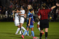 Kansas City, MO - Saturday May 28, 2016: FC Kansas City midfielder Erika Tymrak (15) is congratulated by midfielder Alexa Newfield (88) after scoring a goal against the Orlando Pride during a regular season National Women's Soccer League (NWSL) match at Swope Soccer Village.  Kansas City won 2-0.