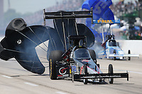 Apr. 28, 2013; Baytown, TX, USA: NHRA top fuel dragster driver Larry Dixon during the Spring Nationals at Royal Purple Raceway. Mandatory Credit: Mark J. Rebilas-