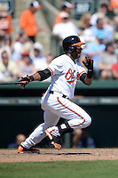 Baltimore Orioles infielder Rey Navarro (43) during a Spring Training game against the Tampa Bay Rays on March 14, 2015 at Ed Smith Stadium in Sarasota, Florida.  Tampa Bay defeated Baltimore 3-2.  (Mike Janes/Four Seam Images)