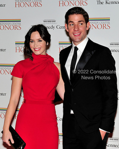 Emily Blunt and John Krasinski arrive for the formal Artist's Dinner honoring the recipients of the 2011 Kennedy Center Honors hosted by United States Secretary of State Hillary Rodham Clinton at the U.S. Department of State in Washington, D.C. on Saturday, December 3, 2011. The 2011 honorees are actress Meryl Streep, singer Neil Diamond, actress Barbara Cook, musician Yo-Yo Ma, and musician Sonny Rollins..Credit: Ron Sachs / CNP
