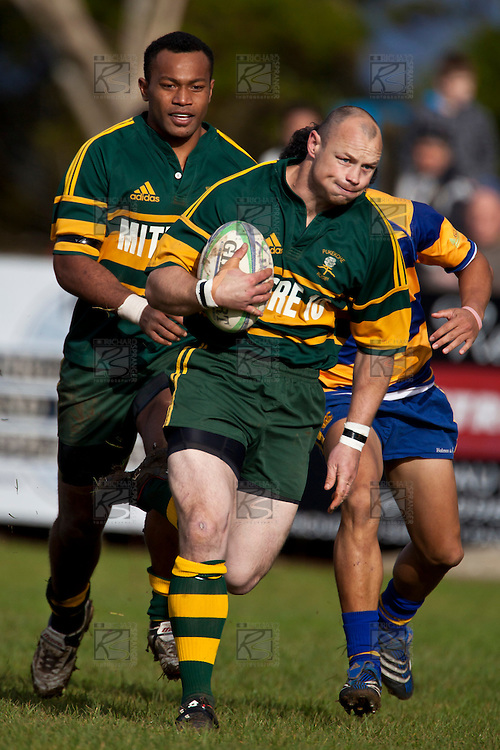 Kevin Farrell gets a free run to the tryline to score Pukekohes first try. Counties Manukau Premier Club Rugby game between Patumahoe and Pukekohe, played at Patumahoe on Saturday June 26th, 2010..Patumahoe won the game 22 - 21 after trailing 13 - 8 at halftime.