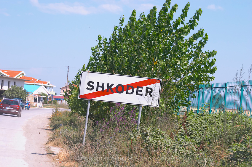 The street sign showing the town limit. Shkodra. Albania, Balkan, Europe.