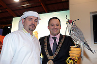 NO FEE PICTURES.25/1/13 Lord Mayor of Dublin Naoise Ó Muirí with Trevor Roche at the Holiday World Show at the RDS, Dublin. Picture:Arthur Carron/Collins